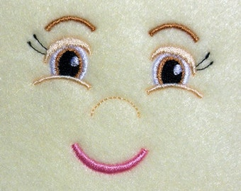 Doll Face Girl Smiling Embroidery Machine Design