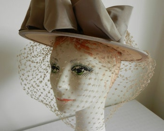 Vintage Straw with Taupe Band and Bow with PERFECT Beige Veil Hat by Sue
