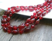 Multi Strand Red Beaded Glass Necklace