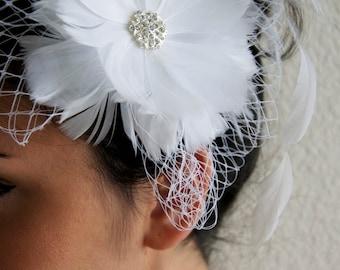 Bridal White Feather Flower Clip w/ white Netting - White Flower Fascinator Clip
