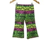 Vintage 90s Fabric Handmade New Neon Surf print Bellbottoms toddler size 2T Sample Only one will ever be made