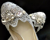 Silver Lace Wedding Shoes .. Silver Wedding Shoes .. Low Heel Bridal Shoes .. Sparkling wedding shoes .. FREE postage within the USA