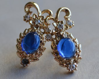 Gold Tone Earrings Golden Blue Clear  1980 80 1980s 80s Bold Large Statement Cabochon Rhinestone Metal Dramatic Classic Elegant Preppy Chic