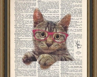 Kitty cat with his pink glasses on is printed on a vintage dictionary page. Art Decor,Art Print, Cat Print.