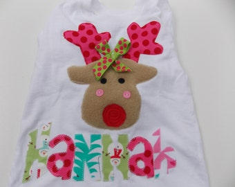 Reindeer Appliqued Christmas Shirt  by Bubblebabys
