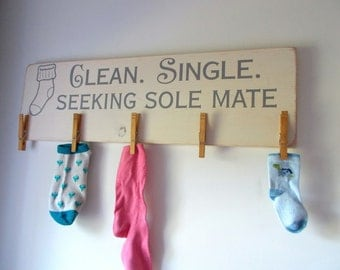 Clean Single Seeking Sole Mate Laundry Board Lost Socks Laundry Room Sign