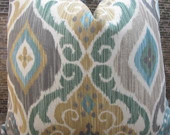 SALE Outdoor Pillow Cover - Lumbar, 16 x 16, 18 x 18, 20 x 20, 22 x 22 - Modern Medallion Scroll Mist