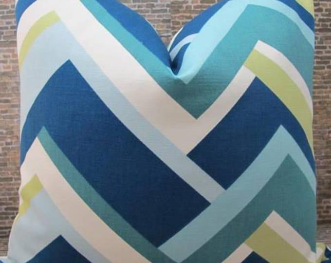 SALE Designer Pillow Cover - Lumbar, 16 x 16, 18 x 18, 20 x 20, 22 x 22 - Colorblock Chevron Blue Multi