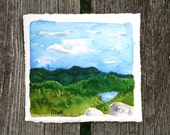 View from Peaked Mountain. An original Adirondack watercolor painting.