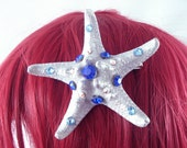 Silver and Blue Little Mermaid Crystal Natural Starfish Hairclip