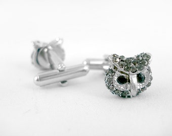 Silver Rhinestone Owl Cufflinks - Mens Cufflinks Owl Cuff Links Bird Cufflinks Crystal Cufflinks Crystal Owl Wedding