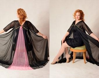 Vintage 1950s Gotham Lingerie - Pink Black Robe - Honeymoon Fashions Size 34