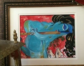 "Krishna the Flutist 2, Acrylic on Hand made paper, Modern, 9"" X 12"""