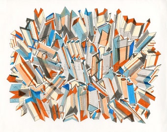 Blue Orange City: archival PRINT of original abstract geometric drawing 11x14 blue orange black ivory beige white grey 3D shapes modern art