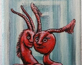 Tiny art - Hornworm Awareness - small red character painting in acrylic on canvas