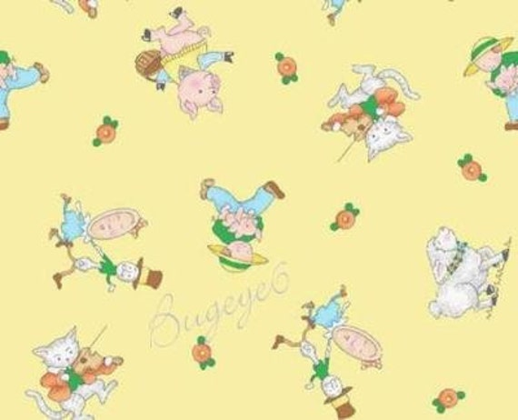 Mary engelbreit fabric nursery rhyme toss on yellow mother for Yellow nursery fabric