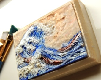 GREAT WAVE SOAP, Katsushika Hokusai - Colored in Soap, Handpainted in Soap, The Great Wave at Kanagawa, 1831–33, Custom Scented