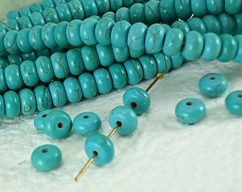 20 Stone Beads Donut Spacer Real Howlite Turquoise with Dark Brown Veins 8mm x 5mm Natural Beads
