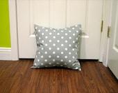 Gray Polk Dot Pillow Cover