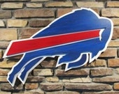 Buffalo Bills Logo hand crafted from wood with a custom paint finish