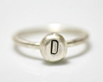Personalized Initial Ring in Sterling