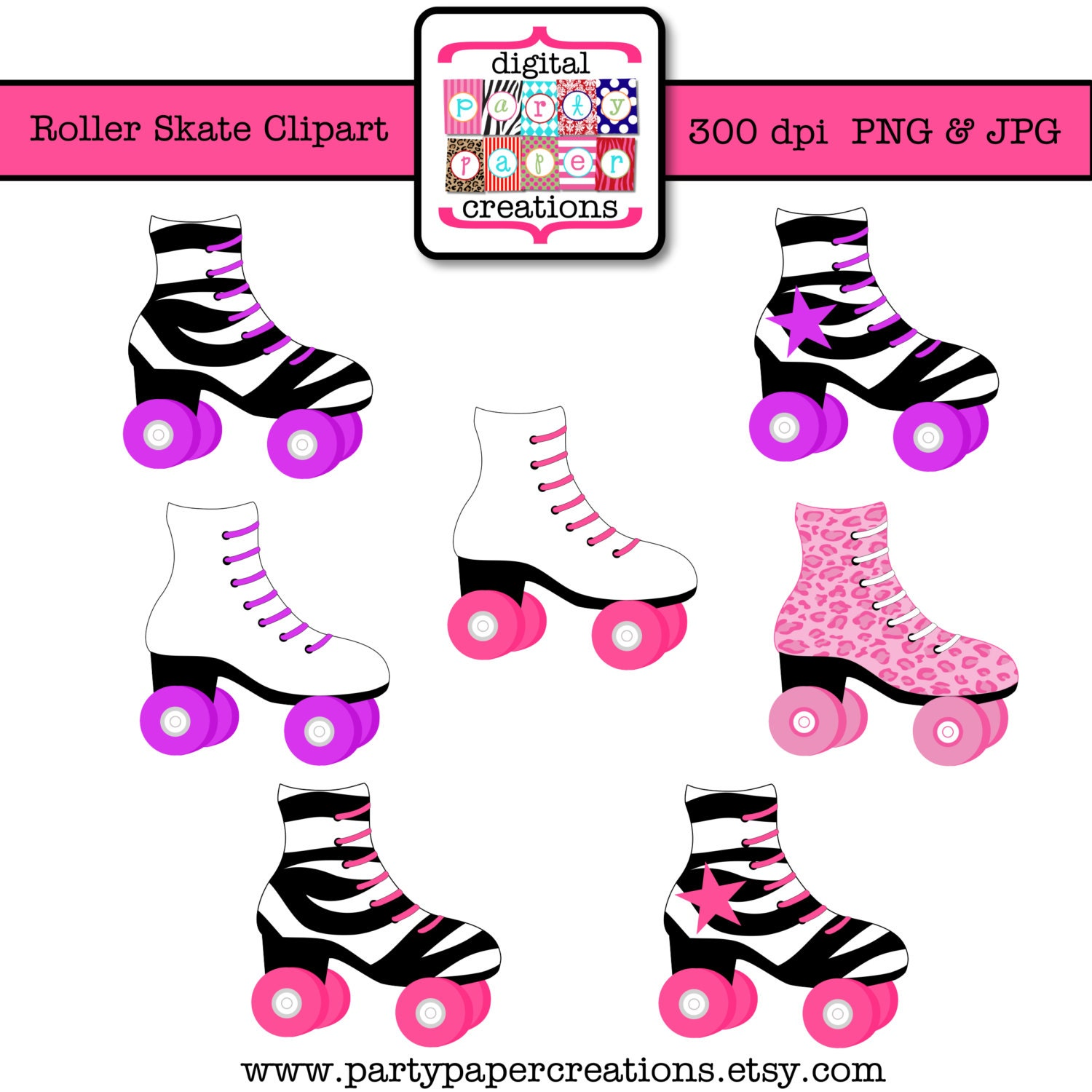 Roller Skate Clipart Skating Party Clipart Leopard Print