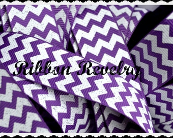 "Classic Preppy purple glitter Chevron on white 7/8"" grosgrain- high quality"