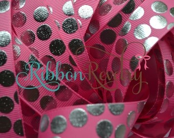 "Silver foil silly dots printed on pink 7/8""  grosgrain ribbon- Gorgeous in person-"