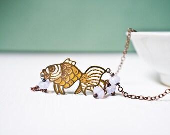 Layering Necklace, Dainty Chain Necklace, Boho Necklace, Vintage Koi Pendant, Pale Lavender Opal Color