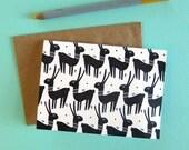 Llamas Pattern /  Letterpress Printed Card