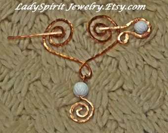 Copperwork Celtic Heart Shawl or Tartan Pin with carved Coral Accents
