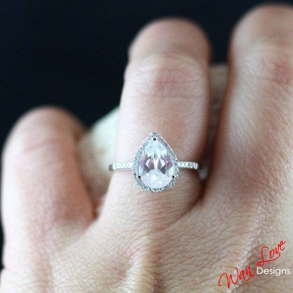 White Sapphire & Diamond Pear halo ring white, yellow, rose gold-Custom made your size-Wedding-Engagement-Anniversary-Layaway 14k-18k