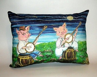 Childrens Fairy Tale Pillow Cover - Two Pigs Playing Banjos