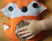 Fox I Spy Bag / Toddler Childrens Toy Earth Friendly Quiet time Travel Game, Airplane Quiet Game, Seek and Find Pillow