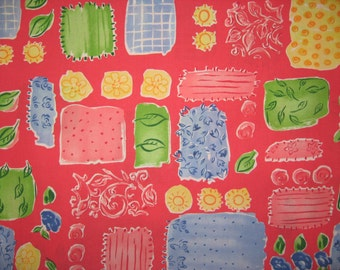 """Red blue yellow green flowers patchwork design 1 yard 30"""" cotton fabric"""
