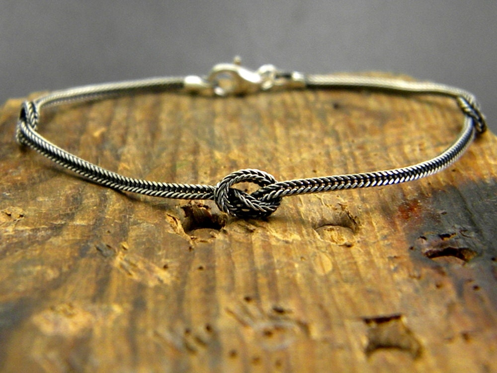 Sterling Silver Bracelet Infinity Knot Braided Chain Rope