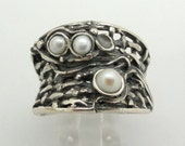 Israe design 925 Sterling Silver white fresh water Pearl woman unique Ring size 7.5 (h 1145b)