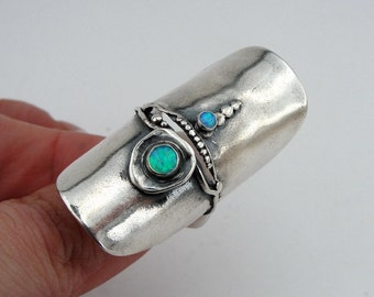 Great NEW  long Sterling Silver Opal Ring 9 (H 106)Y