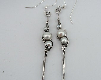 Hadar NEW Long Sterling  Silver Pearl Earrings (H 2101)