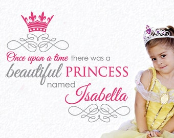 Once Upon a Time Subway Art 2-Color Personalized Name and Princess Crown Vinyl Wall Decals Art Stickers (No. 044)