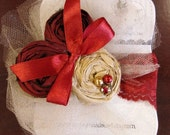 Crimson & Gold hand rolled rosette headband/ hairclip