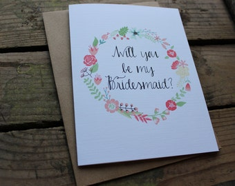 Will you be my Bridesmaid, Matron/Maid of Honor, Wedding Party Card, with Envelopes - Set of 5