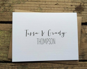 Wedding Thank You Cards with Envelopes / Custom Name Bride & Groom / Shower / Couples / Set of 10