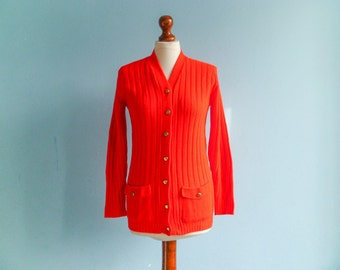 Vintage bright red womens cardigan sweater / ribbed / buttoned up down / 70s / small medium