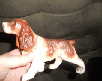 Vintage Bone China Spaniel Dog with brass Spaniel Tag