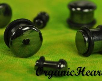 "Hematite Single Flare Stone Plugs 8g-1/2"" (Sold as Pair) Handmade Body Jewelry Organic Plugs (8g, 6g,4g, 2g, 0g, 00g, 1/2"")"