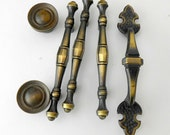Vintage cabinet pulls cabinet handles drawer handles Amerock  antique brass handles architectural salvage French Provincial