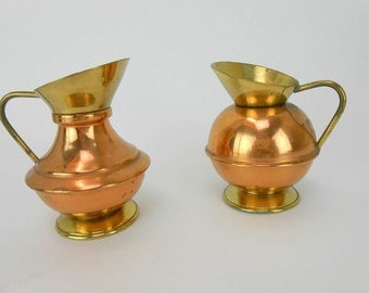 vintage Brass and copper pitchers miniature pitcher miniature urns brass and copper made in England miniature brass and copper kitchen decor