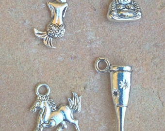 charms, add a charm, mermaid, horse, buddha,wine glass, charms for necklace