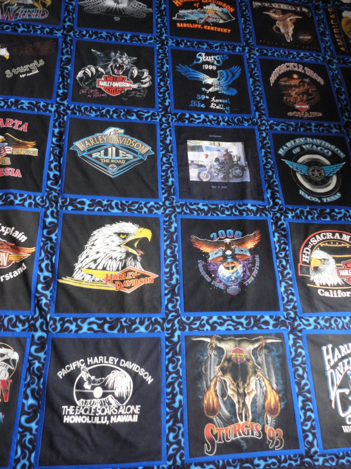 T Shirt Quilt Pattern Queen : Queen Size Harley Davidson T-Shirt Quilt with Fade Resistant